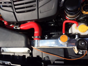 Mishimoto radiator with temperature sensors installed