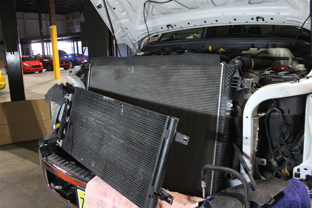 The front of the 6.7L with the Secondary Radiator removed